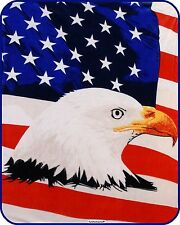 EAGLE USA FLAG Queen Size Soft Faux Mink HEAVY Weight Warm Bed BLANKET