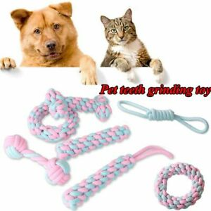 Dog Cotton Chew Knot Toy Durable Braided Bone Rope Teeth Cleaning Accessories