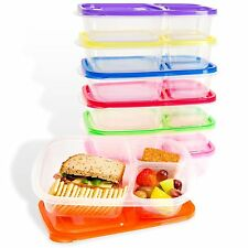 Set of 6 Microwave Plastic Bento Lunch Boxes Kids Children Food Container