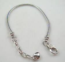 Wholesale 1pcs Snake Chain P Silver Plated Charm Bracelets Fit European Beads n3