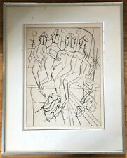 Nahum Tschacbasov Russian American Artist Etching Surrealist People Birds '53