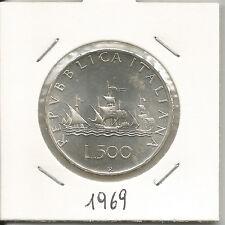 REPUBBLICA ITALIANA - 500 Lire argento Caravelle 1969