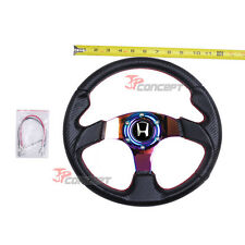 320mm JDM Steering Wheel Black Carbon Fiber NEO Chrome Spokes w/Silver H Emblem