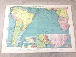 Vintage Map South Atlantic Ocean Shipping Ports  Maritime Nautical Original