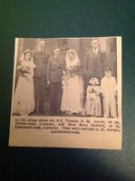 Ephemera 1942 Leicester Picture A C Thomas R M Smith Mary Bedford Wedding ca2