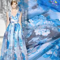 Blau Seidenchiffon stoff mit Blumen Muster Meterware 100% Seidenstoffe nähen