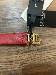 Ralph Lauren RL Women Red Leather Skinny Belt - L