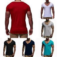 Summer Mens Plain Shirt Short Sleeve V Neck Slim T-shirt Muscle Solid Tee Tops