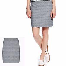 M&s best of british court jacquard mini jupe ~ taille 14 ~ gris mix