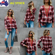 Women Strappy V Neck Long Sleeve Plaid Botton Shirt Blouse Loose Blouse Tops Tee