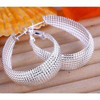 ASAMO Damen Ohrringe oval Creolen 925 Sterling Silber plattiert
