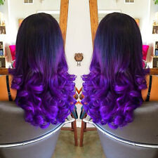 "24""Heat Resistant Lace Front Wig Synthetic Hair Loose Curly Wavy Ombre 1B/Purple"