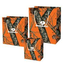 Mossy Oak Camo Party Gift Bag Birthday Orange Wedding 3pc Wrapping S M L
