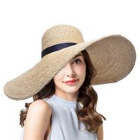"6.7"" Womens Kentucky Derby Large Brim Raffia Straw Floppy Sun Beach Hat T237"