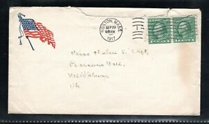 1917 1¢ Green Washington pair on sailor's mail with content Boston to Vermont