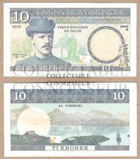 Greenland / Denmark 10 Kroner 2015 UNC SPECIMEN Test Note Banknote Whale
