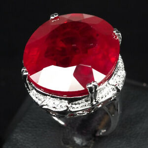 RUBY PIGEON BLOOD RED OVAL 47.80CT.SAPPHIRE 925 STERLING SILVER RING SZ 6.5 GIFT