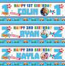 2 Personalised Birthday Banner Photo Children kids Baby Vehicle Party Decoration