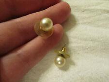 "White - Cream Shiny Faux Pearl Plastic Stud Earrings - 0.25"" wide"