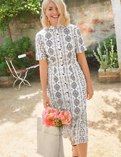 M&s Holly Willoughby Blumendruck Midi Shirt Kleid Gr 12 Weiß Mix (RRP £ 45)