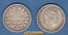 Louis Philippe Ier, 1830-1848 5 Francs Tete Laurée Tranche Creux 1831 K Bordeaux