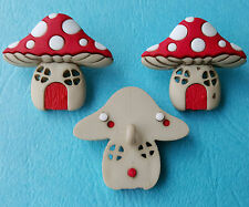 MUSHROOM HOUSES - Toadstool Fairy Door Magic Fantasy Dress It Up Craft Buttons