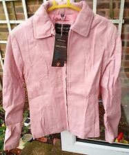NICE BRANDED ATTRACTION PINK LEATHER LADIES JACKET, SIZE 10, TAGGED,NEW