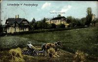 Frankenberg Sachsen 1922 Restaurant Lützelhöhe Bauer mit Pferden bei der Arbeit