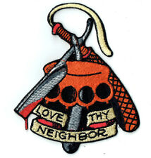 Love Thy neighbor patch badge tattoo design flash sailor jerry brass knuckle