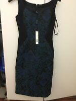 Elie Tahari women's Sleeveless cocktail dress, size 0, navy and turquoise