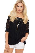 Maglie e camicie da donna neri in poliestere con colletto polo