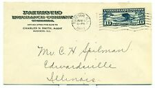 SCARCE LINDBERGH 1927 C10 FDC MADISON,IL. UNOFFICIAL CITY UNLISTED PLANTY