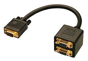 Lindy Electronics (41214) Monitor VGA (M)  to 2 x VGA (F) Splitter