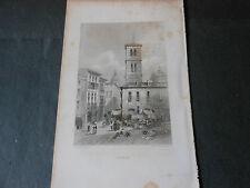 1855 INCISIONE SU ACCIAIO VEDUTA DI CAPUA CASERTA REGNO DELLE DUE SICILIE