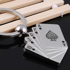 Hot Sale Funny Chain Ring Personality Gift Metal Keychain Poker