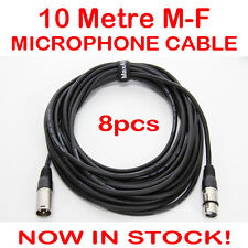 8x 10 Metre XLR QUALITY Male-Female M-F Microphone Mic Cable Lead Cord DMX 10M