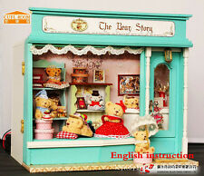 Wooden Miniature dollhouse Doll house furniture DIY Kit-Voice control X'mas Gift
