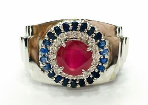 Natural Ruby & Blue Sapphire Gemstone with 925 Sterling Silver Men's Ring #1464