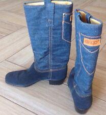 Vintage 70's Dingo Denim Boots Sz 7 N Cowboy Western Leather Biker Jean Rare