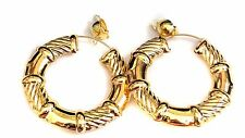 CLIP-ON EARRINGS LARGE 3 INCH SHINY PUFFED GOLD OR SILVER TONE HOOP EARRINGS