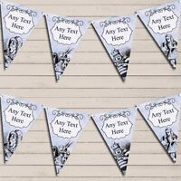 Mad Hatters Tea Party Alice In Wonderland Vintage Blue Birthday Bunting