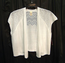 WHITE OPEN FRONT/WEAVE KNIT CROCHET CARDIGAN JACKET SWEATER SHRUG TOP~1X~NEW