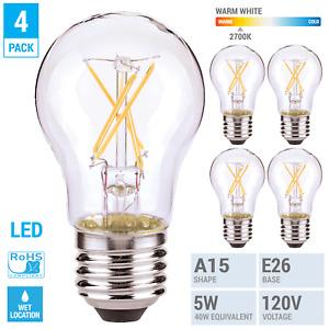 4 Pack LED Filament Bulbs 5W =40W A15 Damp Location Medium E26 Clear Warm White