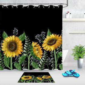 Black Background Sunflowers Green Leaves Shower Curtain Set Bathroom Decor 180cm