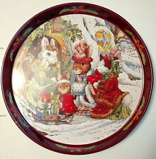 "Lot of 6 Christmas Bunnies Round Metal Cookie Tray Platters 11.75"" Giftco Inc"