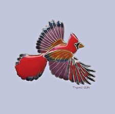 Bamboo Jewelry RED CARDINAL PIN Broach Cloisonne STERLING Silver Bird - Boxed