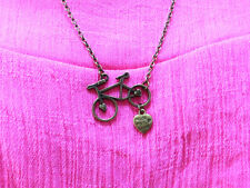 Vintage Bicycle bronze necklace pendant,antique charm handmade chain necklace.