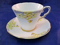 GLADSTONE BONE CHINA TEA CUP AND SAUCER - YELLOW FLOWERS - MADE IN ENGLAND