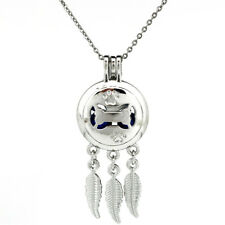 "Sliver Dog Bone Charms Dream Catcher Pearl Cage Necklace 20""--K768"