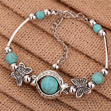 Sweet Tibetan Silver Bracelet Turquoise Inlay Butterfly Bead Adjust Bangle Gc